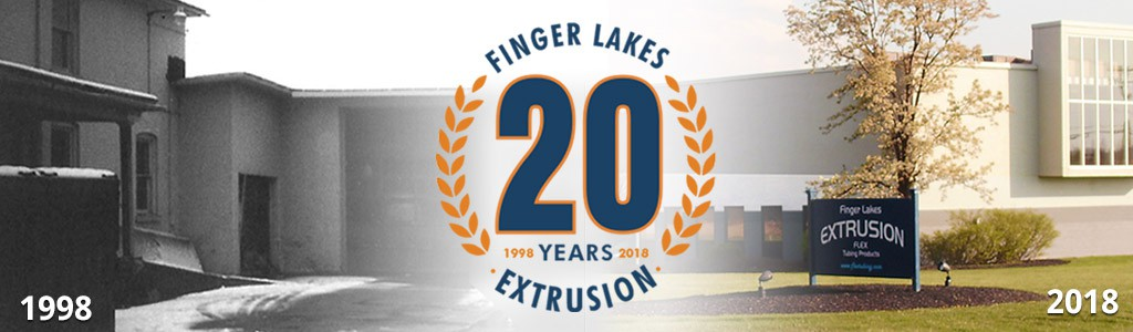 Celebrate 20 years of Finger Lakes Extrusion Tablet Banner